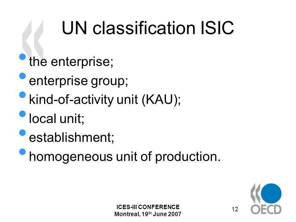 ICES-III CONFERENCE Montreal, 19 th June 2007 12 UN classification ISIC the enterprise; enterprise group; kind-of-activity unit (KAU); local unit; establishment; homogeneous unit of production.