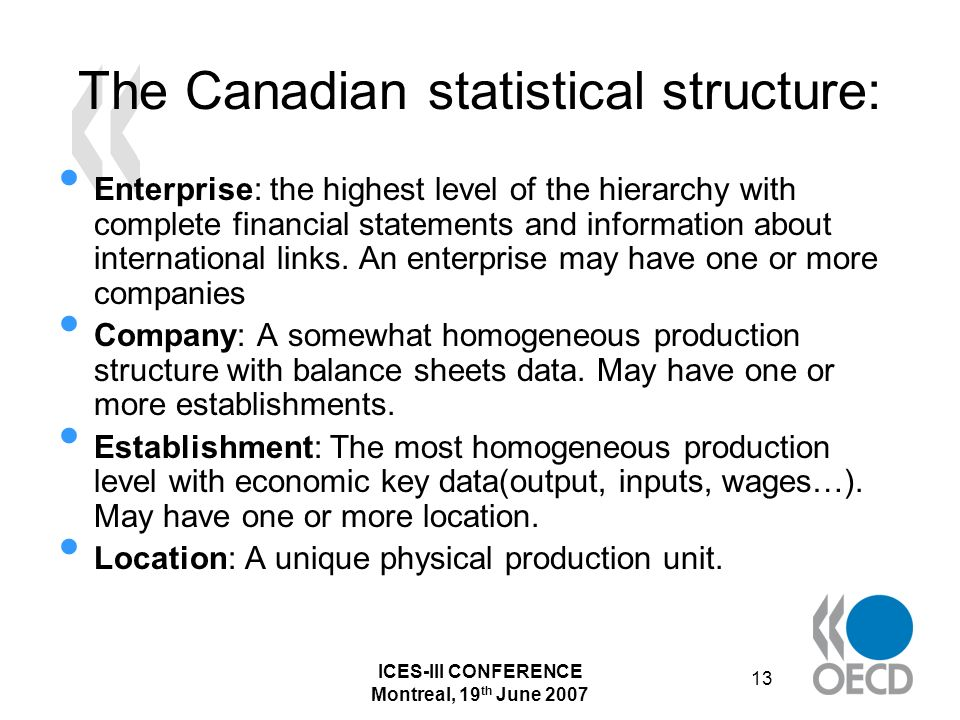 ICES-III CONFERENCE Montreal, 19 th June 2007 13 The Canadian statistical structure: Enterprise: the highest level of the hierarchy with complete financial statements and information about international links.