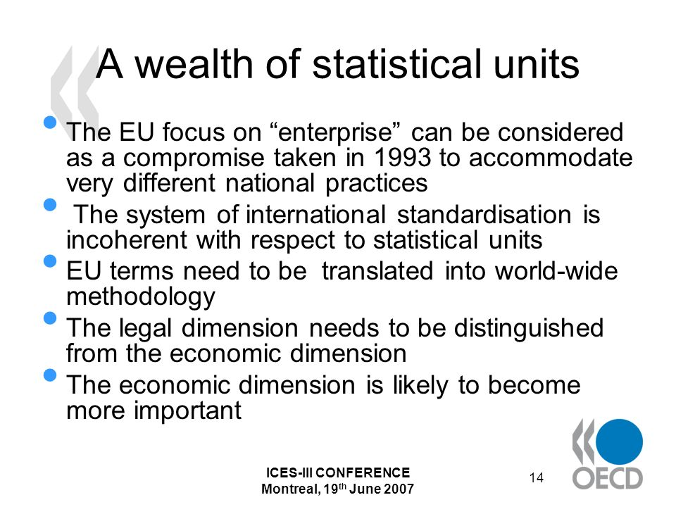 ICES-III CONFERENCE Montreal, 19 th June 2007 14 A wealth of statistical units The EU focus on enterprise can be considered as a compromise taken in 1993 to accommodate very different national practices The system of international standardisation is incoherent with respect to statistical units EU terms need to be translated into world-wide methodology The legal dimension needs to be distinguished from the economic dimension The economic dimension is likely to become more important