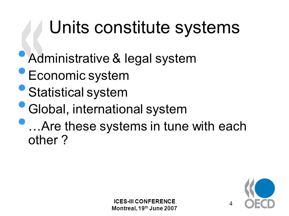 ICES-III CONFERENCE Montreal, 19 th June 2007 45 EGs and EG-sub-groups: a scenario based upon real data The economic picture of a country crucially depends on the degree of inclusion or exclusion of statistical units France has launched in 2005 a major high- level project of re-designing its enterprise statistics system This project was carried out by the CNIS, the National Council for Statistical Information In April 2007, the final report was presented