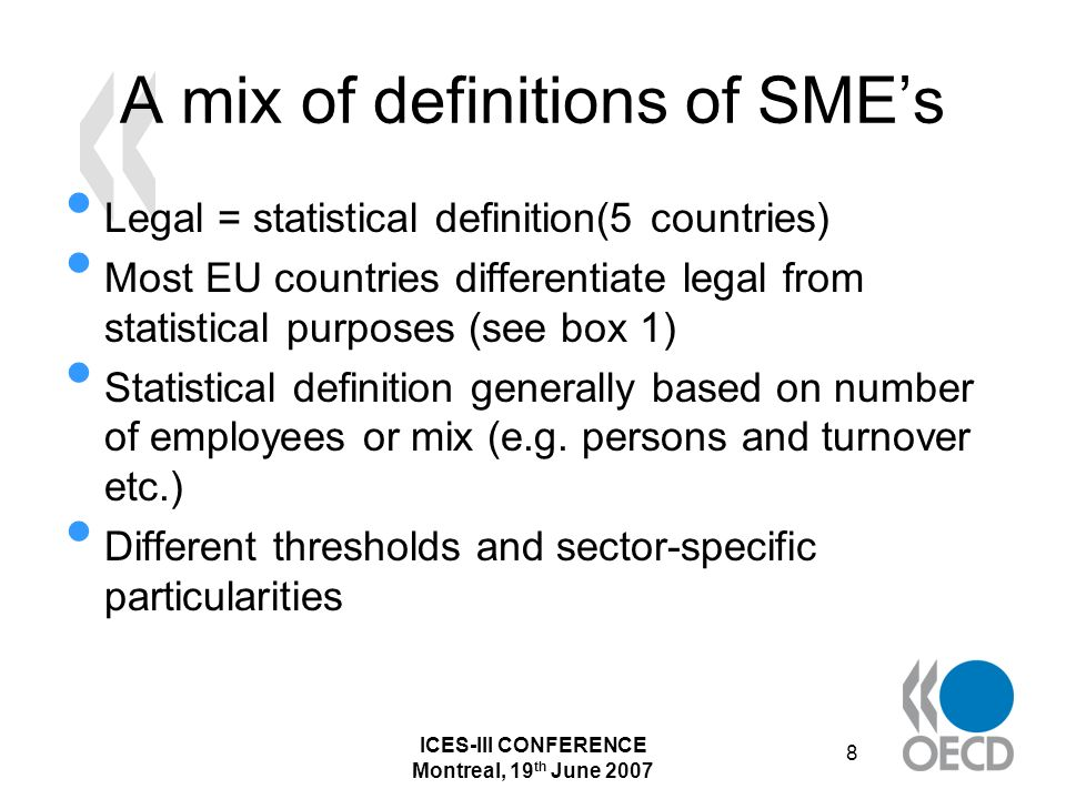 ICES-III CONFERENCE Montreal, 19 th June 2007 19 Collection and compilation strategies Germany and the US are the only countries in the sample under review where the NSO is not in charge of official statistics on SMEs.