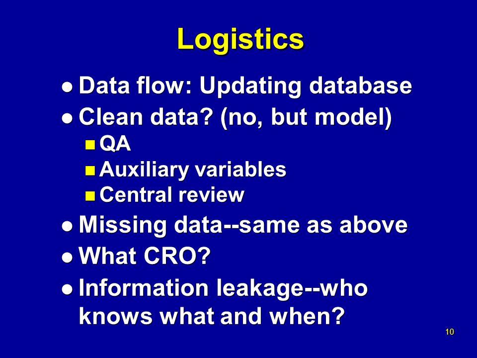 10 Logistics l Data flow: Updating database l Clean data.