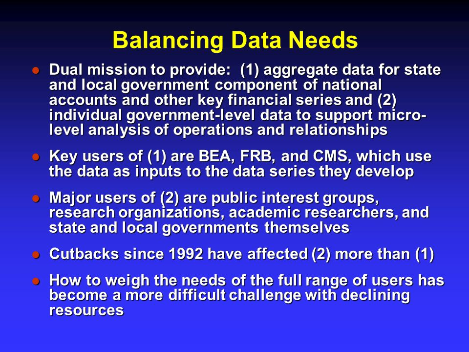 Balancing Data Needs Dual mission to provide: (1) aggregate data for state and local government component of national accounts and other key financial series and (2) individual government-level data to support micro- level analysis of operations and relationships Dual mission to provide: (1) aggregate data for state and local government component of national accounts and other key financial series and (2) individual government-level data to support micro- level analysis of operations and relationships Key users of (1) are BEA, FRB, and CMS, which use the data as inputs to the data series they develop Key users of (1) are BEA, FRB, and CMS, which use the data as inputs to the data series they develop Major users of (2) are public interest groups, research organizations, academic researchers, and state and local governments themselves Major users of (2) are public interest groups, research organizations, academic researchers, and state and local governments themselves Cutbacks since 1992 have affected (2) more than (1) Cutbacks since 1992 have affected (2) more than (1) How to weigh the needs of the full range of users has become a more difficult challenge with declining resources How to weigh the needs of the full range of users has become a more difficult challenge with declining resources