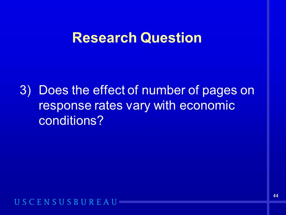 44 Research Question 3)Does the effect of number of pages on response rates vary with economic conditions?
