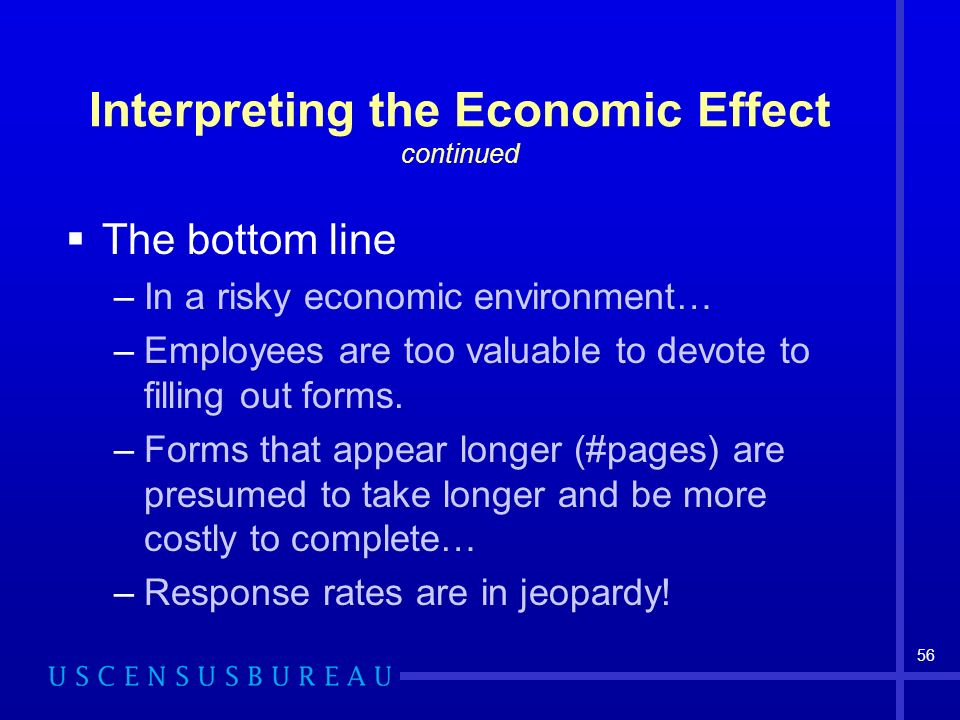 56 Interpreting the Economic Effect continued The bottom line –In a risky economic environment… –Employees are too valuable to devote to filling out forms.