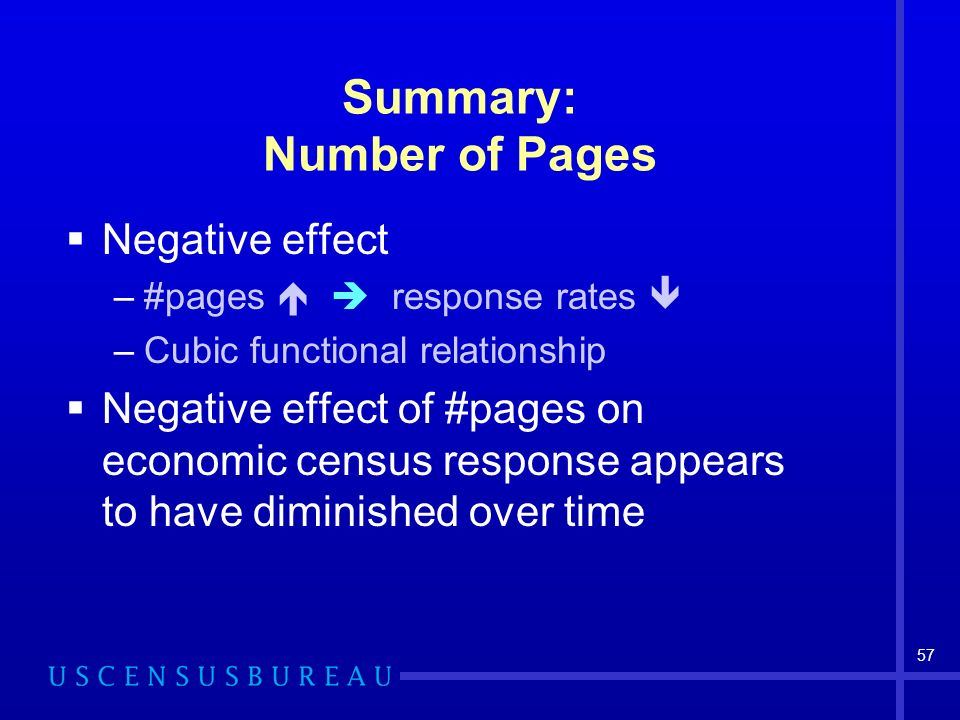 57 Summary: Number of Pages Negative effect –#pages response rates –Cubic functional relationship Negative effect of #pages on economic census respons