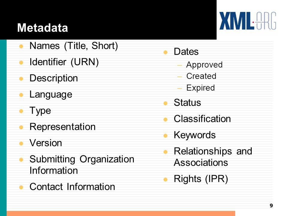 9 Metadata l Names (Title, Short) l Identifier (URN) l Description l Language l Type l Representation l Version l Submitting Organization Information l Contact Information l Dates –Approved –Created –Expired l Status l Classification l Keywords l Relationships and Associations l Rights (IPR)