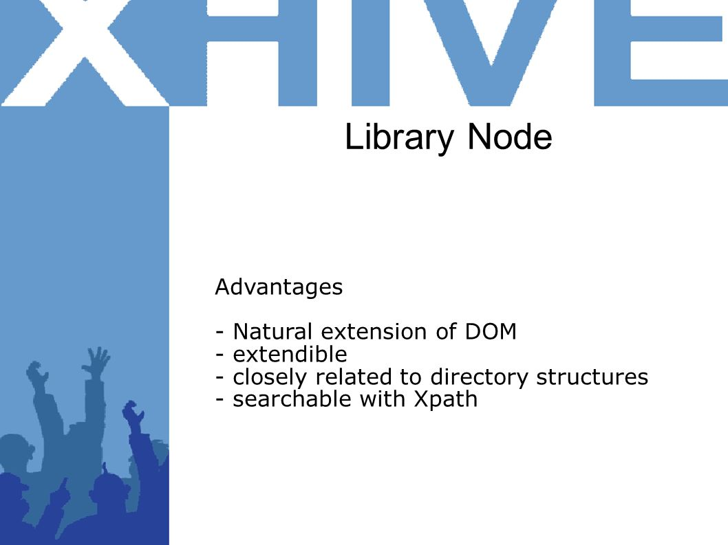 Library Node Advantages - Natural extension of DOM - extendible - closely related to directory structures - searchable with Xpath
