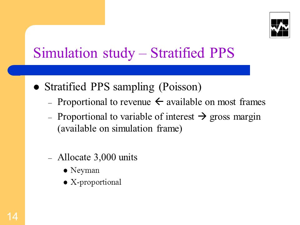 Simulation study – Stratified PPS Stratified PPS sampling (Poisson) – Proportional to revenue available on most frames – Proportional to variable of i