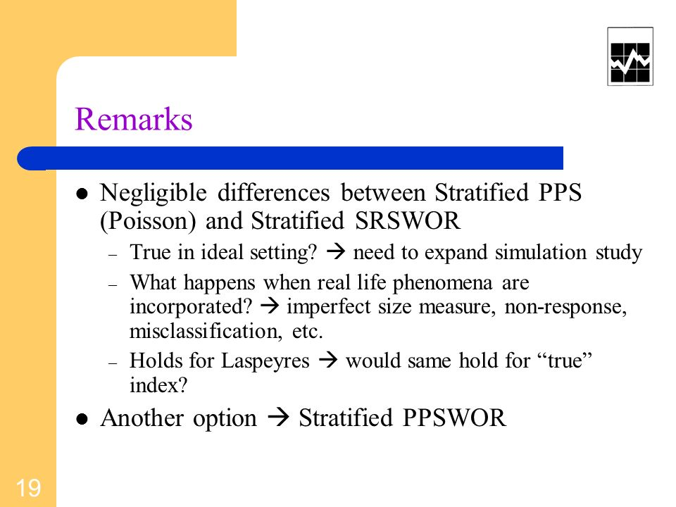 Remarks Negligible differences between Stratified PPS (Poisson) and Stratified SRSWOR – True in ideal setting.