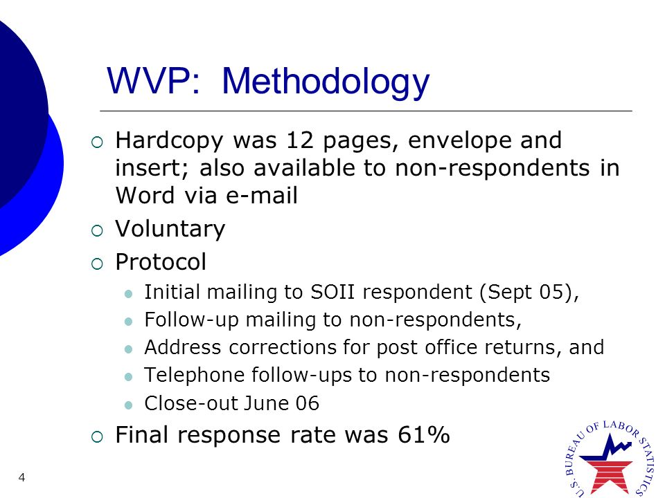 4 WVP: Methodology Hardcopy was 12 pages, envelope and insert; also available to non-respondents in Word via  Voluntary Protocol Initial mailing to SOII respondent (Sept 05), Follow-up mailing to non-respondents, Address corrections for post office returns, and Telephone follow-ups to non-respondents Close-out June 06 Final response rate was 61%