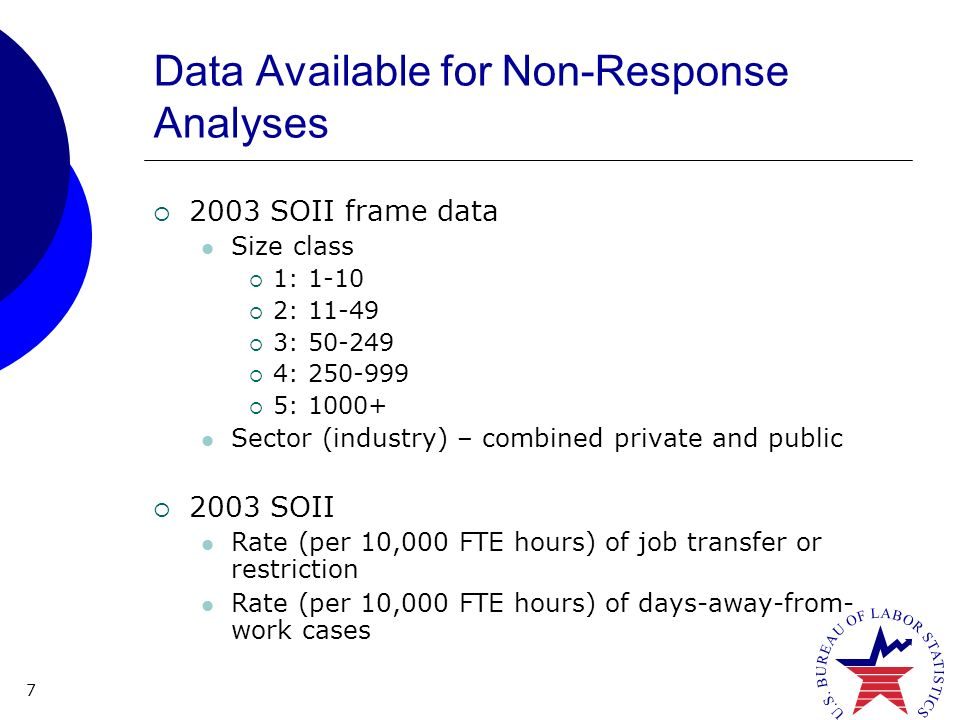 7 Data Available for Non-Response Analyses 2003 SOII frame data Size class 1: : : : : Sector (industry) – combined private and public 2003 SOII Rate (per 10,000 FTE hours) of job transfer or restriction Rate (per 10,000 FTE hours) of days-away-from- work cases