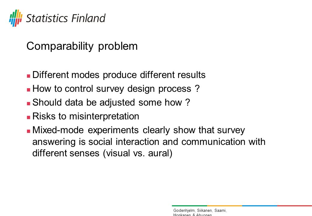 Godenhjelm, Siikanen, Saarni, Honkanen & Ahvonen Comparability problem Different modes produce different results How to control survey design process .