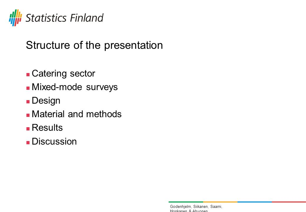 Godenhjelm, Siikanen, Saarni, Honkanen & Ahvonen Structure of the presentation Catering sector Mixed-mode surveys Design Material and methods Results Discussion
