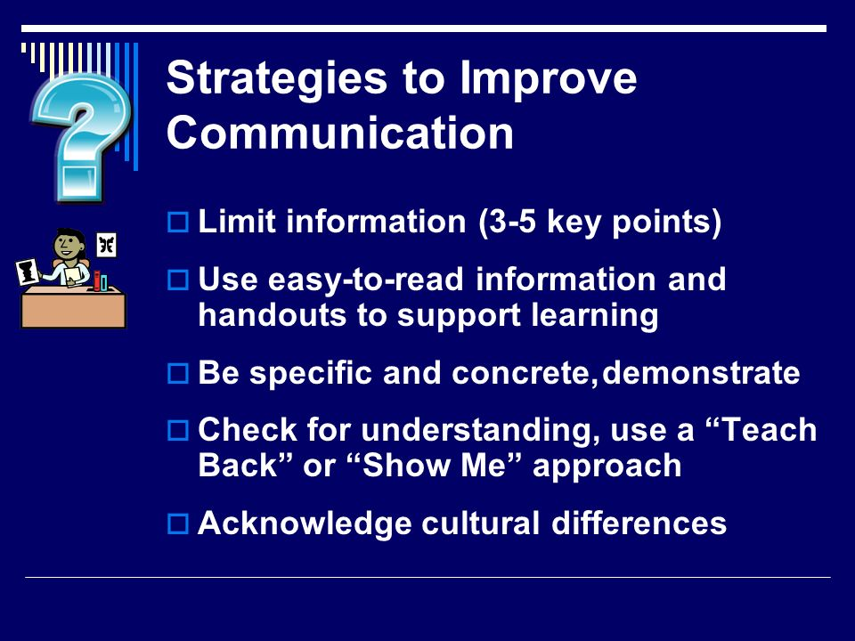 Strategies to Improve Communication Limit information (3-5 key points) Use easy-to-read information and handouts to support learning Be specific and c