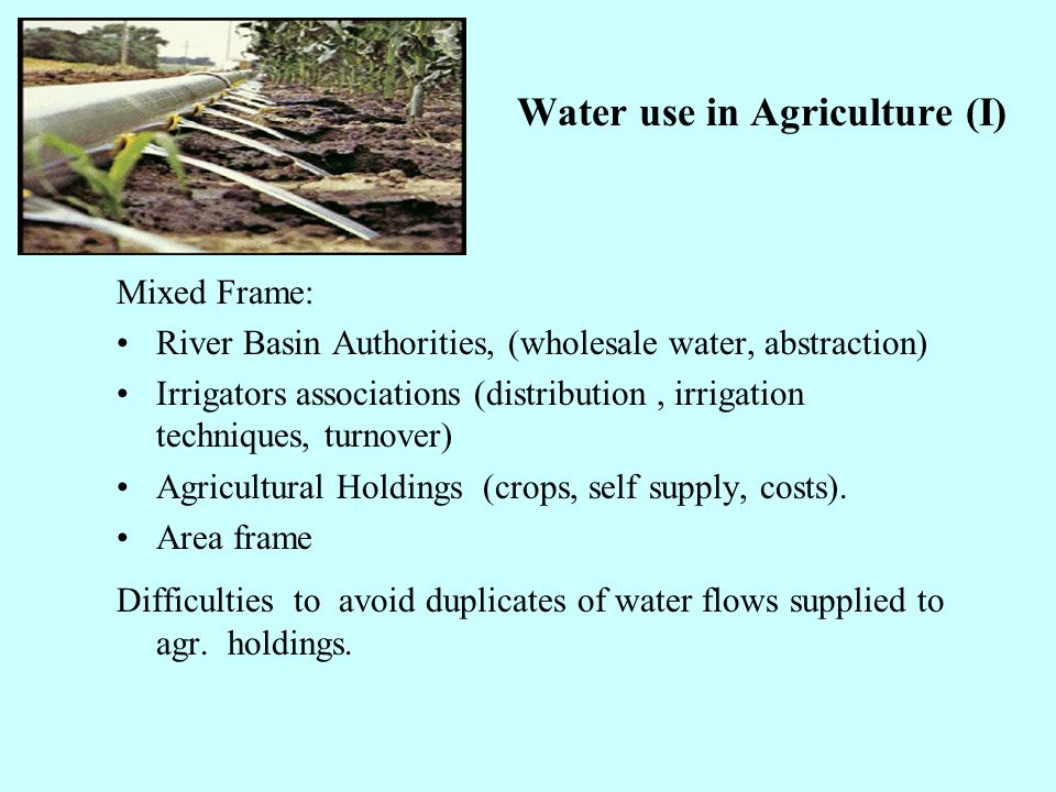 Water use in Agriculture (I) Mixed Frame: River Basin Authorities, (wholesale water, abstraction) Irrigators associations (distribution, irrigation te