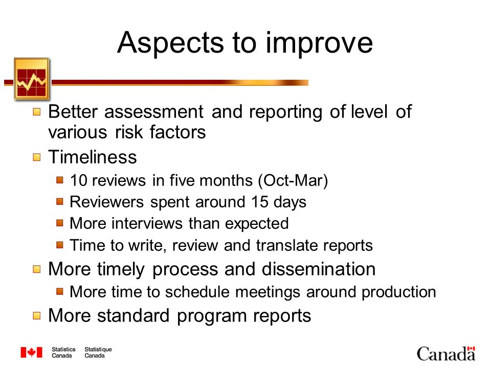 Aspects to improve Better assessment and reporting of level of various risk factors Timeliness 10 reviews in five months (Oct-Mar) Reviewers spent aro