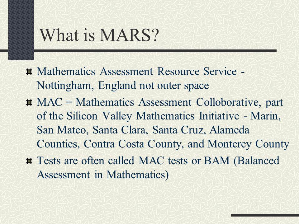 MAC Update 2011 40 School Districts 65,000 students 1500-1600 teachers Now include grades 2 - Geometry