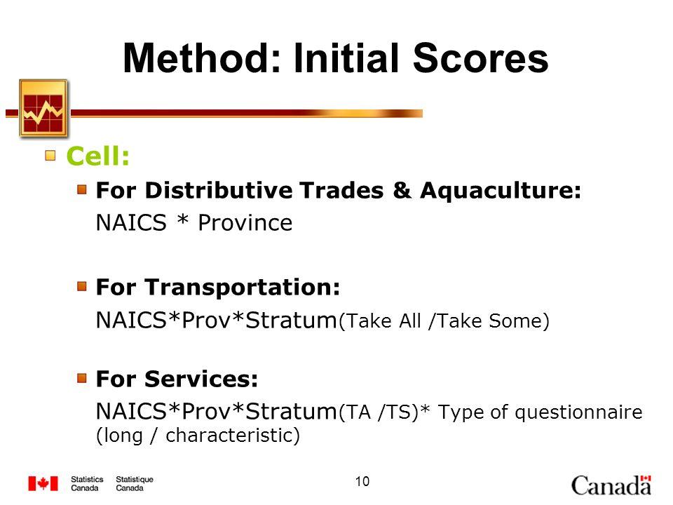 10 Method: Initial Scores Cell: For Distributive Trades & Aquaculture: NAICS * Province For Transportation: NAICS*Prov*Stratum (Take All /Take Some) F