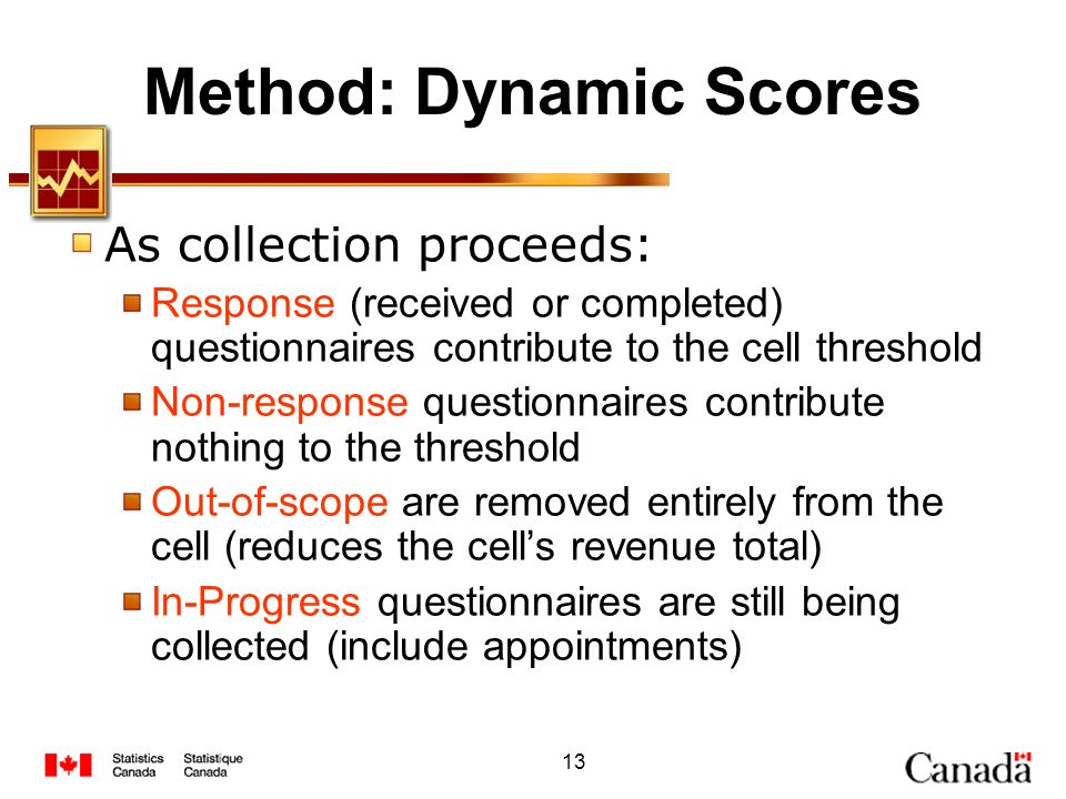 13 Method: Dynamic Scores As collection proceeds: Response (received or completed) questionnaires contribute to the cell threshold Non-response questi