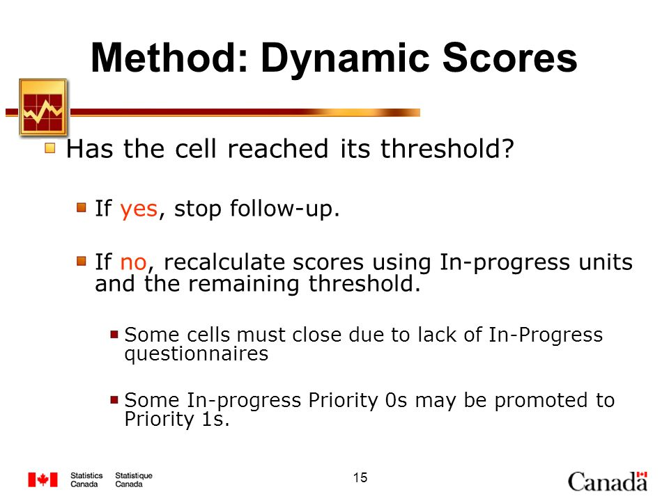 15 Method: Dynamic Scores Has the cell reached its threshold? If yes, stop follow-up. If no, recalculate scores using In-progress units and the remain