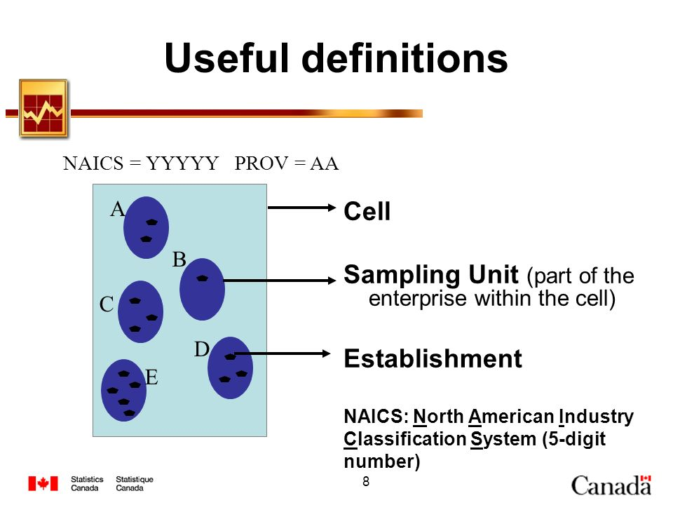 8 Useful definitions A B C D E Cell Sampling Unit (part of the enterprise within the cell) Establishment NAICS: North American Industry Classification