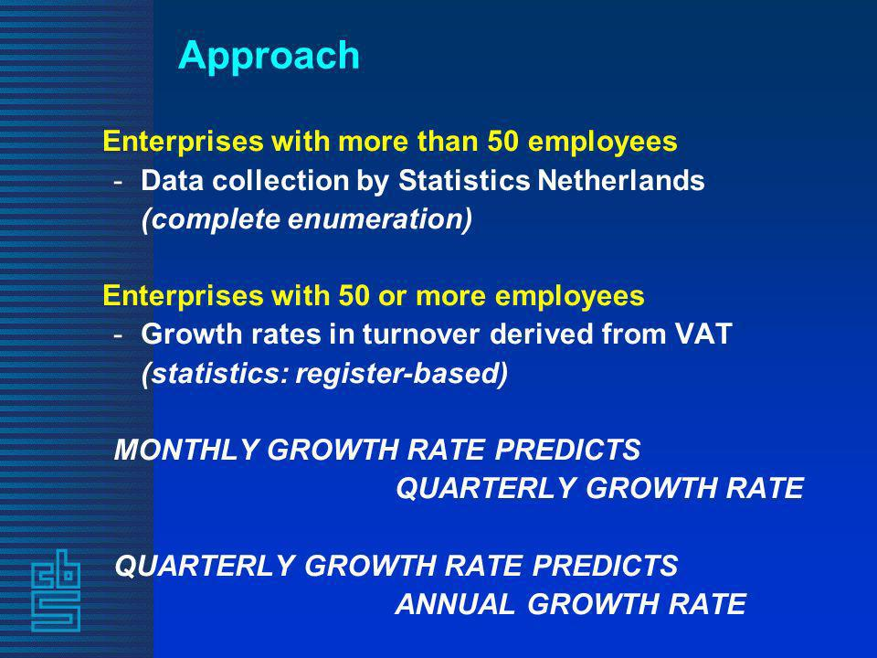 Approach Enterprises with more than 50 employees -Data collection by Statistics Netherlands (complete enumeration) Enterprises with 50 or more employees -Growth rates in turnover derived from VAT (statistics: register-based) MONTHLY GROWTH RATE PREDICTS QUARTERLY GROWTH RATE QUARTERLY GROWTH RATE PREDICTS ANNUAL GROWTH RATE