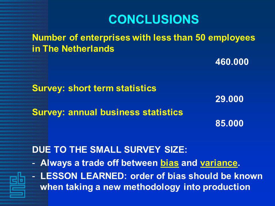 CONCLUSIONS Number of enterprises with less than 50 employees in The Netherlands 460.000 Survey: short term statistics 29.000 Survey: annual business statistics 85.000 DUE TO THE SMALL SURVEY SIZE: - Always a trade off between bias and variance.