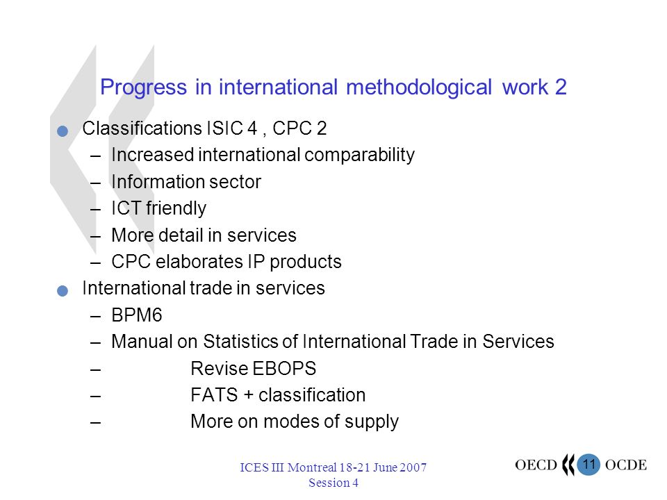 11 ICES III Montreal 18-21 June 2007 Session 4 Progress in international methodological work 2 Classifications ISIC 4, CPC 2 –Increased international comparability –Information sector –ICT friendly –More detail in services –CPC elaborates IP products International trade in services –BPM6 –Manual on Statistics of International Trade in Services – Revise EBOPS – FATS + classification – More on modes of supply