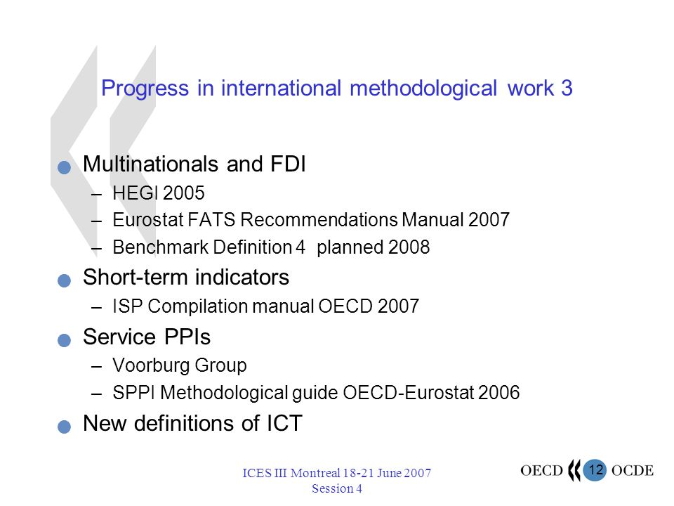 12 ICES III Montreal 18-21 June 2007 Session 4 Progress in international methodological work 3 Multinationals and FDI –HEGI 2005 –Eurostat FATS Recommendations Manual 2007 –Benchmark Definition 4 planned 2008 Short-term indicators –ISP Compilation manual OECD 2007 Service PPIs –Voorburg Group –SPPI Methodological guide OECD-Eurostat 2006 New definitions of ICT