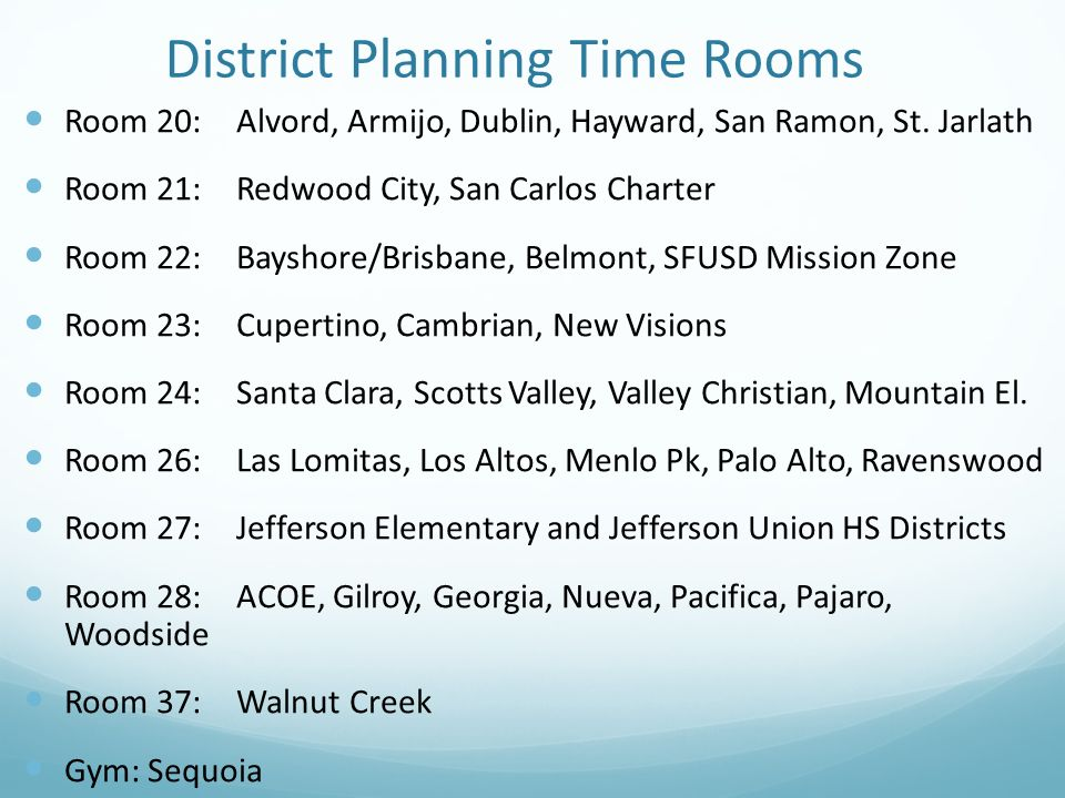 District Planning Time Rooms Room 20:Alvord, Armijo, Dublin, Hayward, San Ramon, St. Jarlath Room 21:Redwood City, San Carlos Charter Room 22:Bayshore