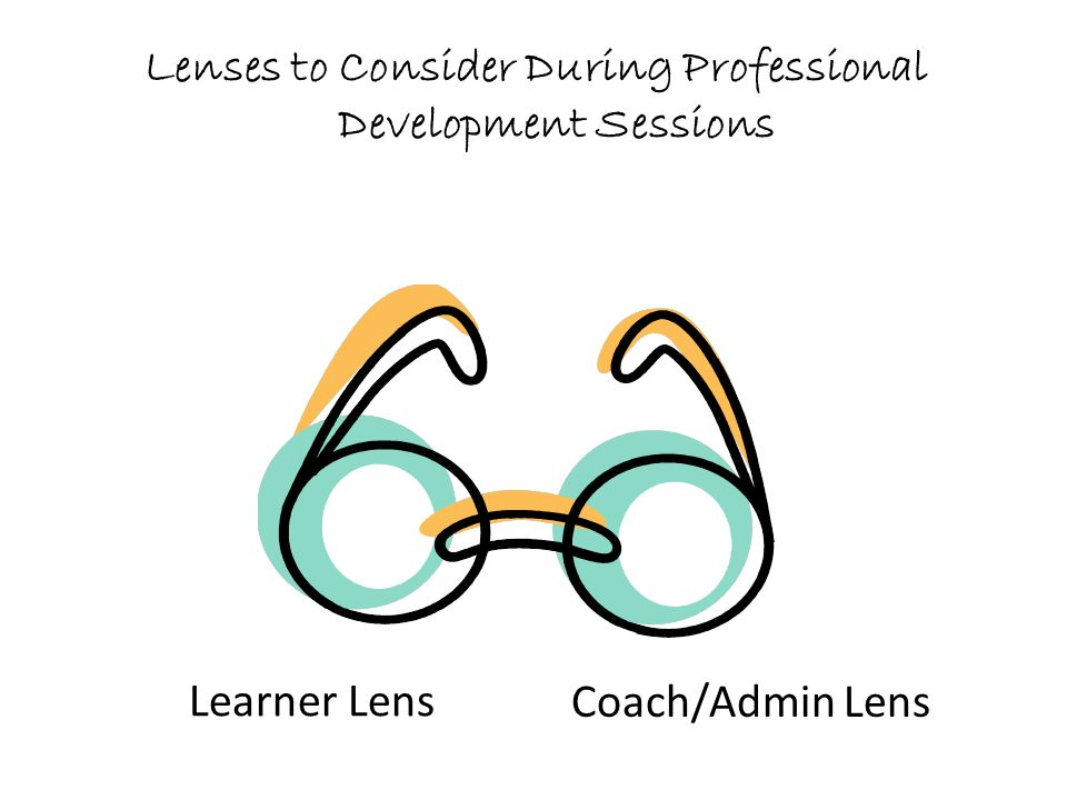 Lenses to Consider During Professional Development Sessions Learner Lens Coach/Admin Lens