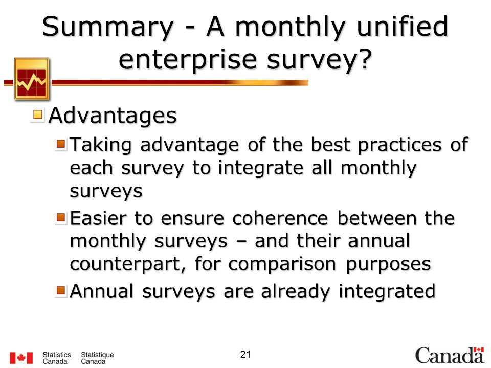 21 Summary - A monthly unified enterprise survey? Advantages Taking advantage of the best practices of each survey to integrate all monthly surveys Ea