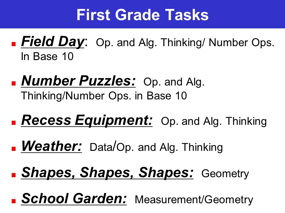 First Grade Tasks Field Day: Op. and Alg. Thinking/ Number Ops.