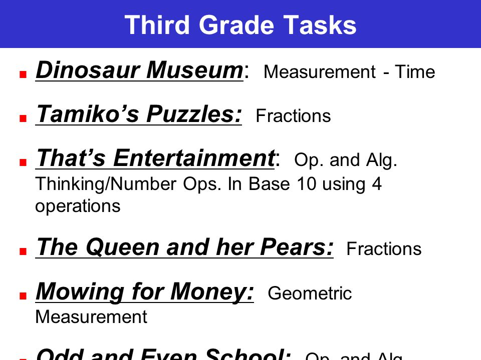 Third Grade Tasks Dinosaur Museum: Measurement - Time Tamikos Puzzles: Fractions Thats Entertainment: Op. and Alg. Thinking/Number Ops. In Base 10 usi