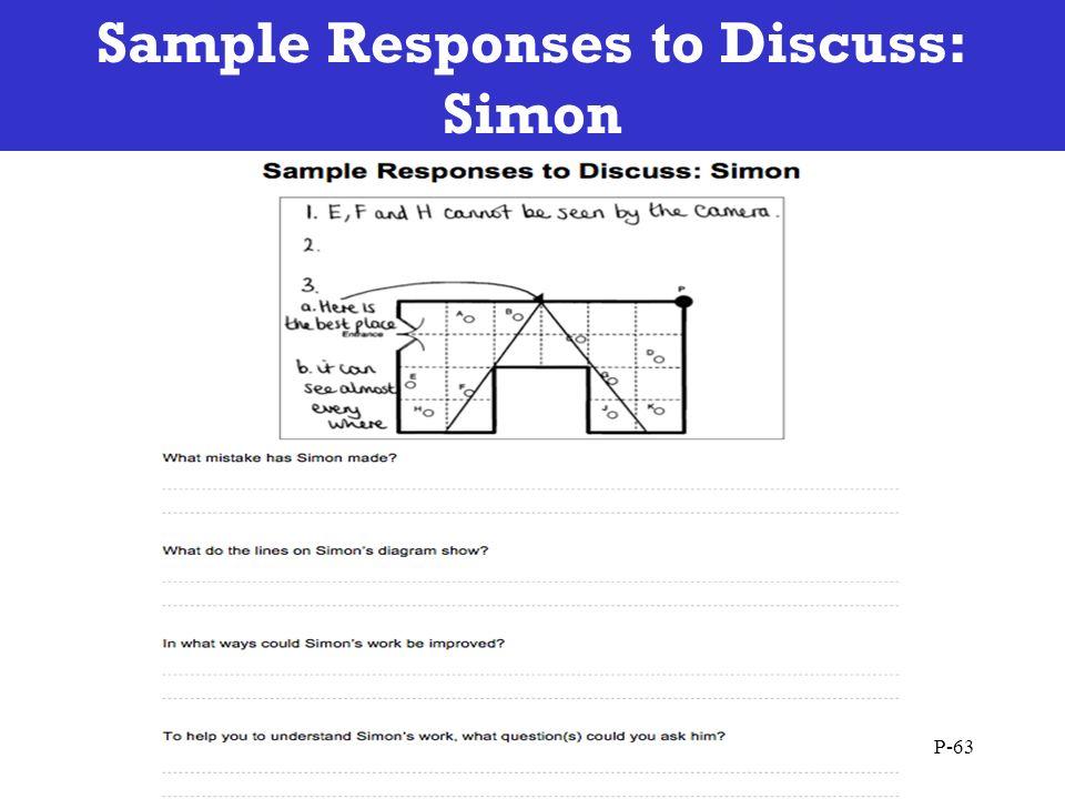 Sample Responses to Discuss: Simon P-63