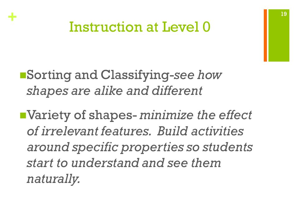 + Instruction at Level 0 Sorting and Classifying-see how shapes are alike and different Variety of shapes- minimize the effect of irrelevant features.