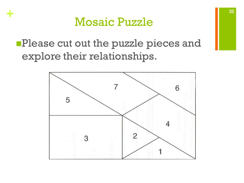 + Mosaic Puzzle Please cut out the puzzle pieces and explore their relationships. 32