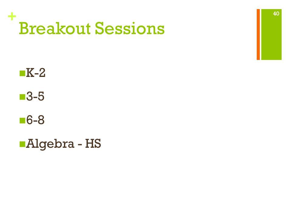 + Breakout Sessions K-2 3-5 6-8 Algebra - HS 40