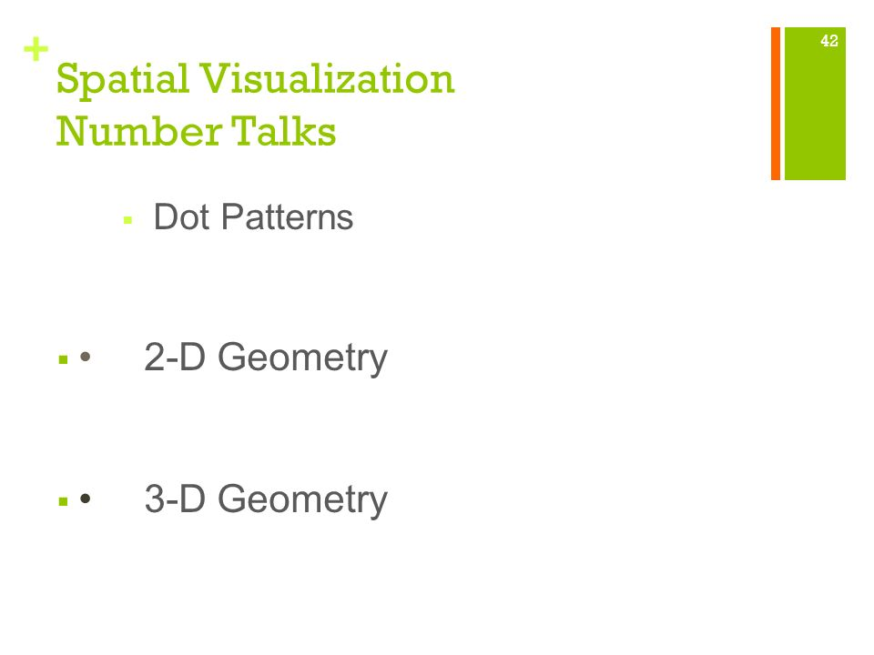 + Spatial Visualization Number Talks Dot Patterns 2-D Geometry 3-D Geometry 42