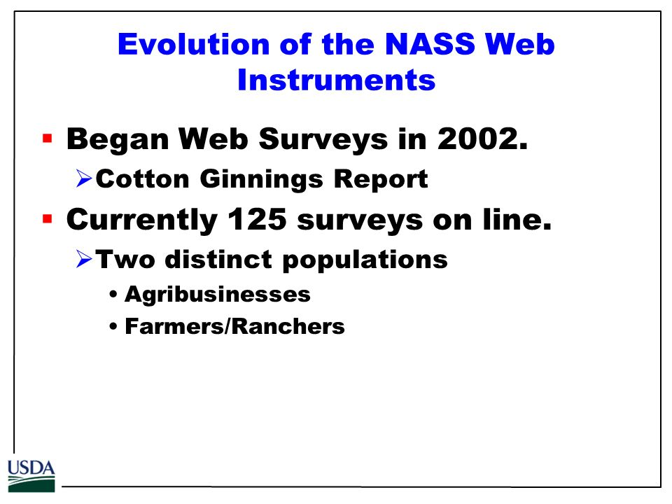 Evolution of the NASS Web Instruments Began Web Surveys in 2002.