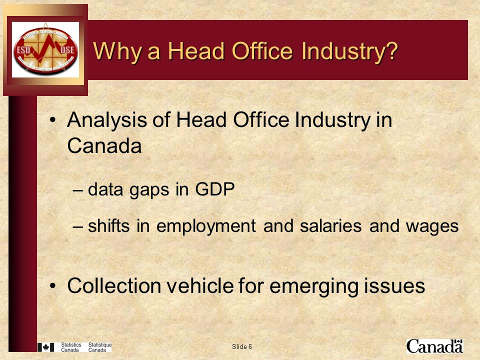 Slide 6 Analysis of Head Office Industry in Canada –data gaps in GDP –shifts in employment and salaries and wages Collection vehicle for emerging issu