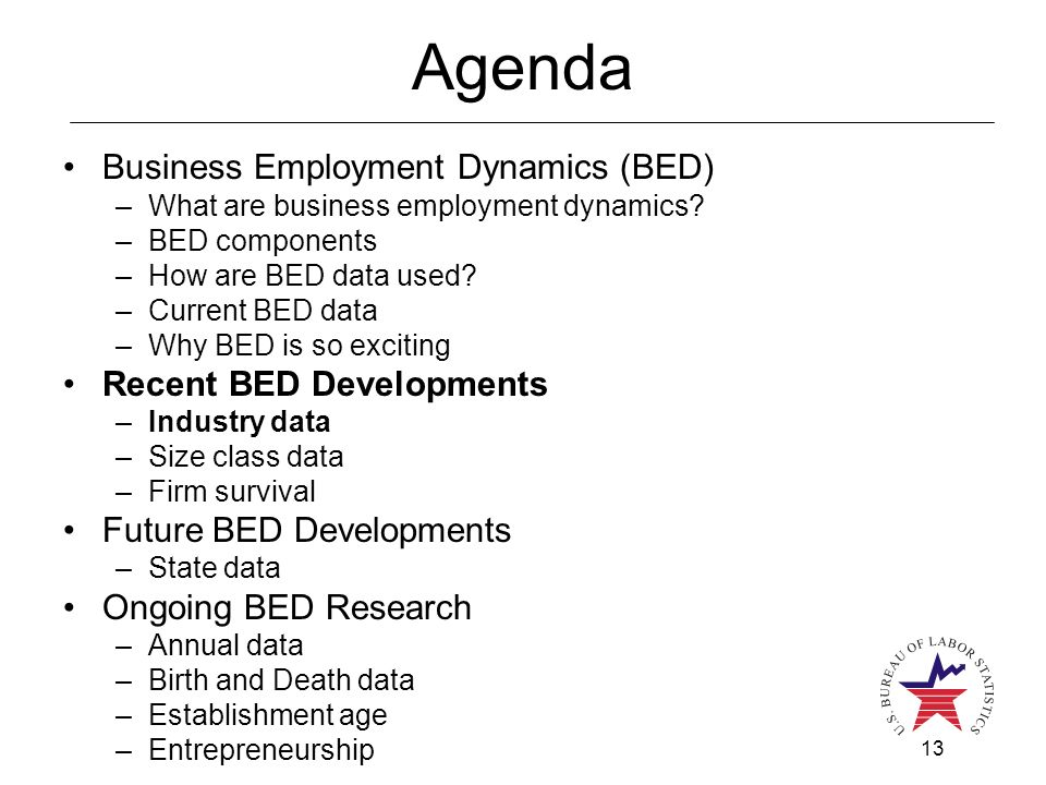 13 Agenda Business Employment Dynamics (BED) –What are business employment dynamics? –BED components –How are BED data used? –Current BED data –Why BE