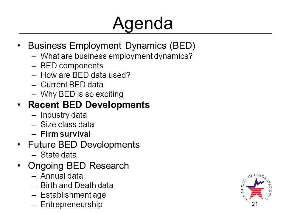 21 Agenda Business Employment Dynamics (BED) –What are business employment dynamics? –BED components –How are BED data used? –Current BED data –Why BE