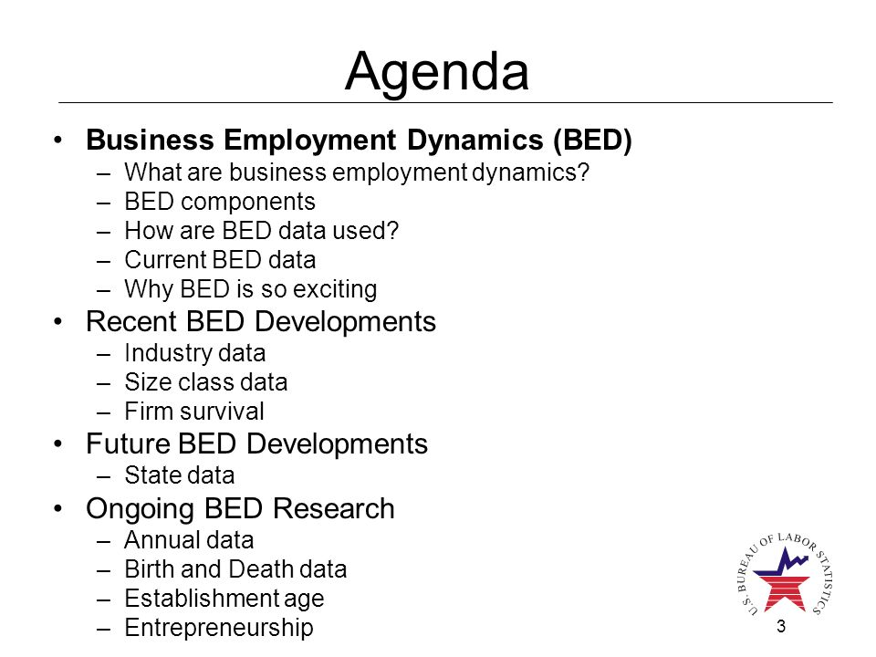 3 Agenda Business Employment Dynamics (BED) –What are business employment dynamics.