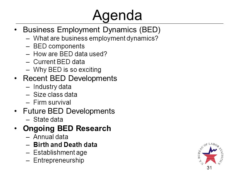 31 Agenda Business Employment Dynamics (BED) –What are business employment dynamics? –BED components –How are BED data used? –Current BED data –Why BE