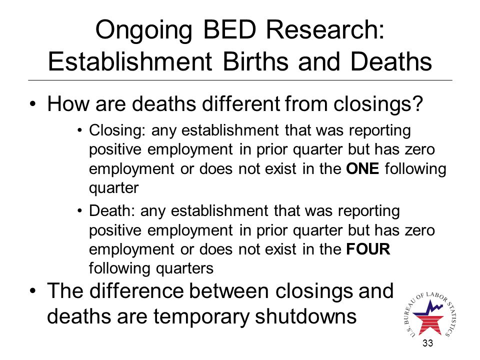 33 Ongoing BED Research: Establishment Births and Deaths How are deaths different from closings.
