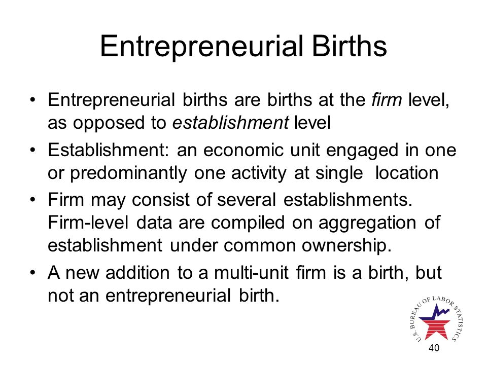 40 Entrepreneurial Births Entrepreneurial births are births at the firm level, as opposed to establishment level Establishment: an economic unit engaged in one or predominantly one activity at single location Firm may consist of several establishments.