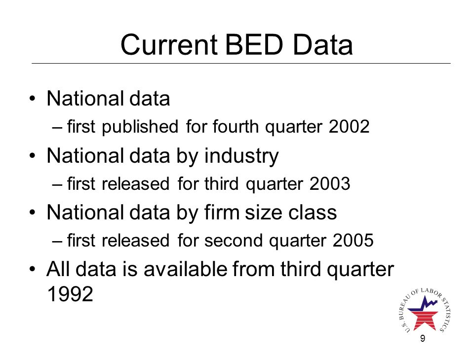 9 Current BED Data National data –first published for fourth quarter 2002 National data by industry –first released for third quarter 2003 National da