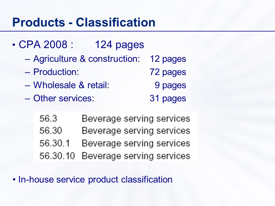 Products - Classification CPA 2008 :124 pages –Agriculture & construction: 12 pages –Production: 72 pages –Wholesale & retail: 9 pages –Other services: 31 pages In-house service product classification